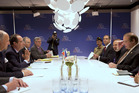 World leaders sit around the table at a bilateral meeting at the Nuclear Security Summit at the Hague. But don't worry - they won't be distracted by women wait staff. Photo / AP