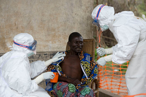 A patient during an outbreak of Ebola in 2007 in the Congo. Photo / AP