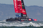 Emirates Team New Zealand in action against Oracle, on San Francisco Bay. Photo / Brett Phibbs