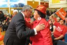 Kelvin Davis greets supporter Ngaire Smith, from Okaihau, during the 2011 campaign.