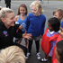 Netballer Katrina Grant with children from Havelock North Primary School and St Matthew's School, Hastings.