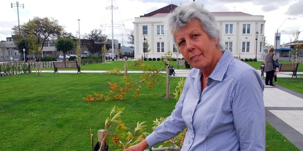Masterton Mayor Lyn Patterson is fuming after vandals snapped in half young trees in the town square. Photo/Nathan Crombie