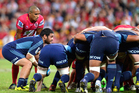 Piri Weepu of the Blues feeds the ball into the scrum. Photo / Getty Images.