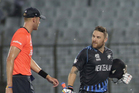 England skipper Stuart Broad and New Zealand captain Brendon McCullum have words as play was suspended during their World Twenty20 clash. Photo / AP