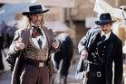 Keith Carradine as Wild Bill Hickock and Timothy Olyphant as Seth Bullock.