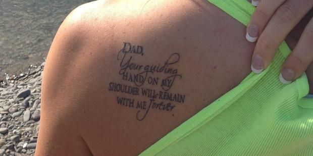 Gemma Hazeldine's tattoo dedicated to her father, the late Stan Hazeldine.