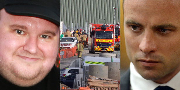 Kim Dotcom, the scene after a chemical spill in Auckland, and Oscar Pistorius. Photos / Norrie Montgomery/Brett Phibbs/AP
