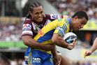 Will Hopoate of the Eels is tackled by Steve Matai of the Sea Eagles. Photo / Getty Images