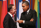US President Barack Obama, right, with Prime Minister John Key at the Nuclear Security Summit in The Hague. Photo / AP