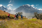 Cyclists leaving Paradise, in Central Otago, on a ride with Revolution Tours. Photo / Laurence Belcher - Paradise Pictures