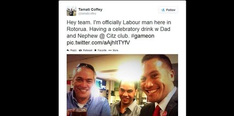 Tamati Coffey's tweet this afternoon.