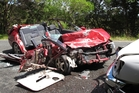 WRECKAGE: A 5-year-old girl was critically injured in this crash allegedly caused by her father.