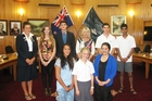 New Wanganui District Council youth councillors are standing, from left, Renee Harrison (co-chair), Nita McKenzie, Noah Aiono, Mayor Annette Main, Jesse Lewis and Amaan Merchant (co-chair). Kneeling, Porchers Marsters (left), Jackie Hazelhurst and Kiri Wilson. Photo/Supplied