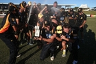 The Wellington Firebirds celebrate their first trophy in 10 years. Photo / Getty Images
