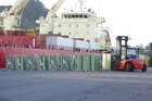 Pallets of kiwifruit are loaded aboard the Lapponian Reefer at the Port of Tauranga, the first of many ships this year that will take the Bay's premier export crop to all areas of the globe. Photo/George Novak