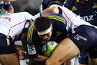Shane Christie of the Highlanders charges up the middle during the round eight Super Rugby match between the Highlanders and the Rebels at Forsyth Barr Stadium. Photo / Getty Images.