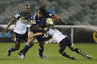 Ma'a Nonu of the Blues is tackled during the round eight Super Rugby match between the Brumbies and the Bulls at Canberra Stadium. Photo / Getty Images