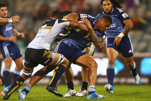 Frank Halai of the Blues runs the ball during the round eight Super Rugby match between the Brumbies and the Bulls at Canberra Stadium. Photo / Getty Images.
