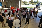 Supporters gathered at the Lowe Corporation Rescue Helicopter hangar last night. Photo / Glenn Taylor