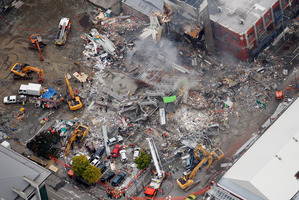 An aerial view of emergency services working at the ruined CTV building in central Christchurch. Photo / Sarah Ivey