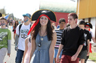 Kuranui College students completed a 10km mufti fun run or walk to raise money for classmate Jacob Skinner, who  was diagnosed with cancer. Pictured in a pirate hat is Jordan Gates.