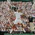Defending champion Roger Federer returns to Rafael Nadal, during the Men's Singles final, Wimbledon, England. Photo / Anja Niedringhaus