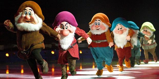 The dwarfs of Disney on Ice's Treasure Trove.