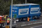 The scene of the paint spill on Auckland's Northwestern Motorway, Auckland. Photo / Brett Phibbs