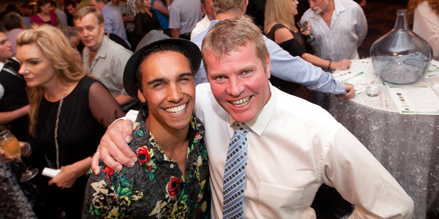 Titanium pop group member Jordi Webber with Rotorua New World owner operator Greg Dyson, who purchased him at the Supper Club event. Photo/Ben Fraser