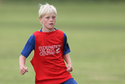 Callum Toft, from Mount Primary, test his skills at a Future Champions session at Blake Park. Photo / John Borren