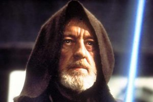 The late Sir Alec Guinness as Obi-wan Kenobi in Star Wars.