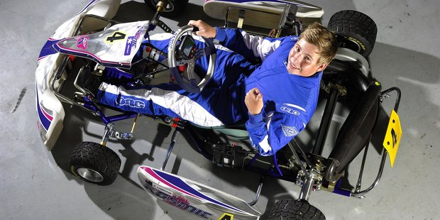 Taylor Harte has his sights set in the Rotax World champs in Spain later this year and is a current New Zealand karting titleholder.