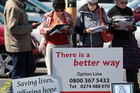Anti abortion protestors outside a medical clinic in Dominion Road, Auckland. Photo / Doug Sherring