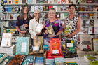 From left, Tanya Gribben, Patricia Kay, Carole Beu and Mary-Liz Corbett at the Women's Bookshop in Ponsonby. Photo / Richard Robinson