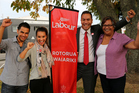 Tamati Coffey has been selected as Rotorua's Labour Party candidate. From left: Daniel Coffey, nephew, Katea Graham, niece, Tamati, and Rangi Coffey, mother. Photo / Peter Graney
