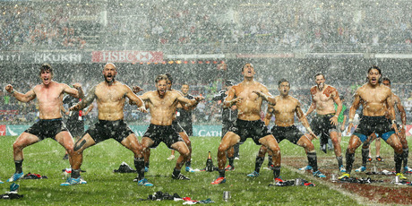 The New Zealand team perform the Haka after winning the Cup Final between England and New Zealand during the 2014 Hong Kong Sevens at Hong Kong International Stadium. Photo / AP