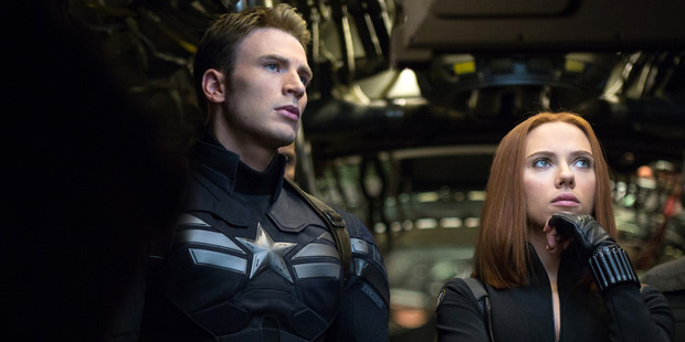 Chris Evans, left, and Scarlett Johansson in Captain America: The Winter Soldier.