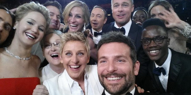 The most famous selfie in the world, taken at the Oscars in March. Picture / Twitter @TheEllenShow