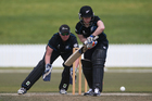 Katie Perkins bats during a White Ferns vs BOP selection team cricket match. File photo / APN
