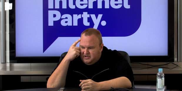Kim Dotcom at the launch of his Internet Party. Photograph by Brett Phibbs