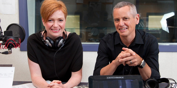New Morning Report hosts Susie Ferguson and Guyon Espiner in the Radio New Zealand Wellington studio. Photo / Mark Mitchell.