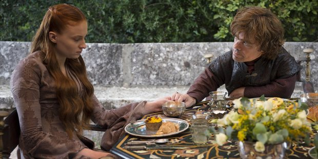 Sansa (Sophie Turner) and Tyrion (Peter Dinklage) contend with their unwanted union in season four of Game of Thrones.