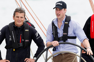 Team NZ skipper Dean Barker with Prince William onboard NZL41 during William's three day visit to New Zealand in January 2010. Photo / NZPA / Wayne Drought