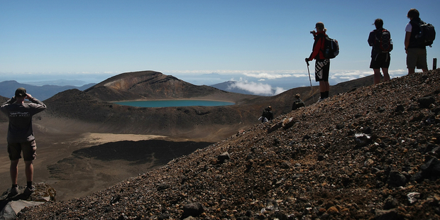 The half way point on the Tongariro Crossing. Photo / Greg Bowker