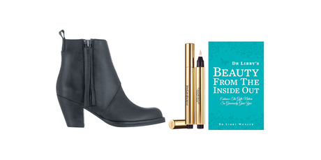 Acne boots; YSL Touche Éclat; Dr Libby's Beauty from the Inside Out by Dr Libby Weaver. Photos / SUpplied.
