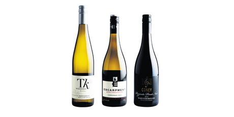 Te Kairanga Estate Martinborough Riesling 2013; Escarpment Martinborough Chardonnay 2012; Coney Pizzicato Martinborough Pinot Noir 2012. Photos / Supplied.
