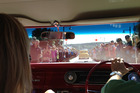 View from inside a Chevy Impala at the Whangamata Beach Hop.