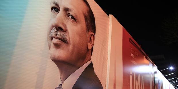 He's not a candidate but Turkey's PM Recep Tayyip Erdogan dominates in today's local elections. Photo / AP