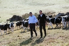 INSPECTION TOUR: Primary Industries Minister Nathan Guy (left) and Beef + Lamb New Zealand chairman James Parsons, of Tangowahine Valley, check conditions on John and Lurline Blackwell's farm in the Northland localised drought area.PHOTO/MICHAEL CUNNINGHAM