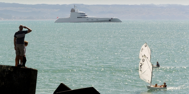 The biggest superyacht to visit New Zealand sat off Napier's Perfume Point yesterday. Photo/Warren Buckland